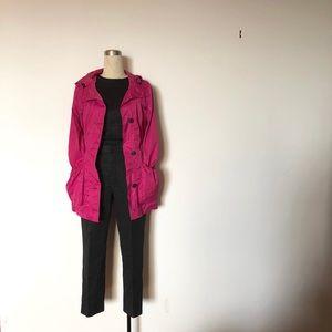 Andrew Marc - Hot Pink Rain Jacket + Black Accents